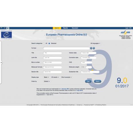 Farmakopea Europejska / European Pharmacopoeia 9th Edition 2017. Main volume 9.0. + Suppl. 9.1. + Suppl. 9.2. Wersja: Online